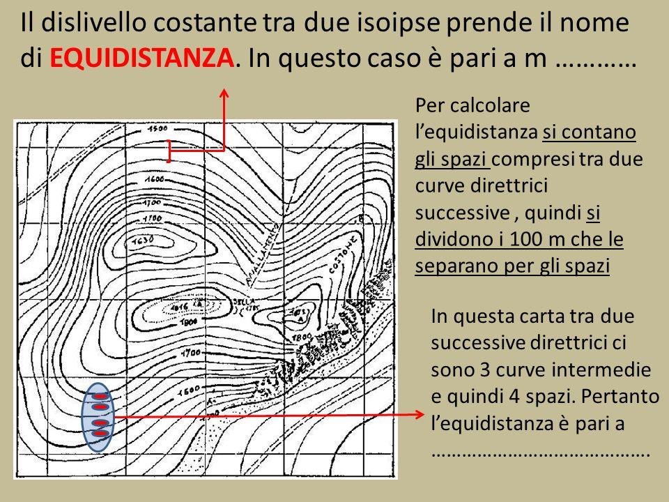 Il dislivello costante tra due isoipse prende il nome di EQUIDISTANZA. In questo caso è pari a m ………… Per calcolare lequidistanza si contano gli spazi