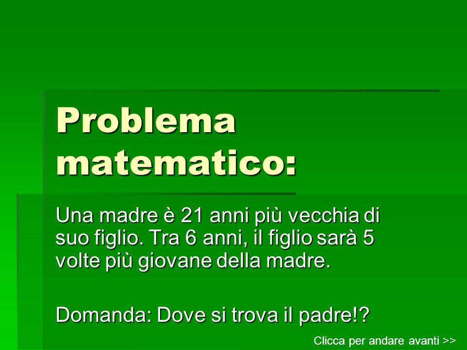 Problema matematico: Una madre è 21 anni più vecchia di suo figlio. Tra 6 anni, il figlio sarà 5 volte più giovane della madre. Domanda: Dove si trova