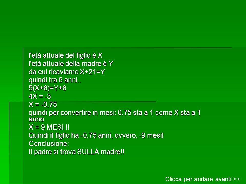 l'età attuale del figlio è X l'età attuale della madre è Y da cui ricaviamo X+21=Y quindi tra 6 anni.. 5(X+6)=Y+6 4X = -3 X = -0,75 quindi per convert