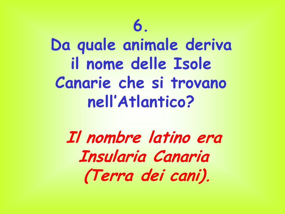 6. Da quale animale deriva il nome delle Isole Canarie che si trovano nellAtlantico? Il nombre latino era Insularia Canaria (Terra dei cani).