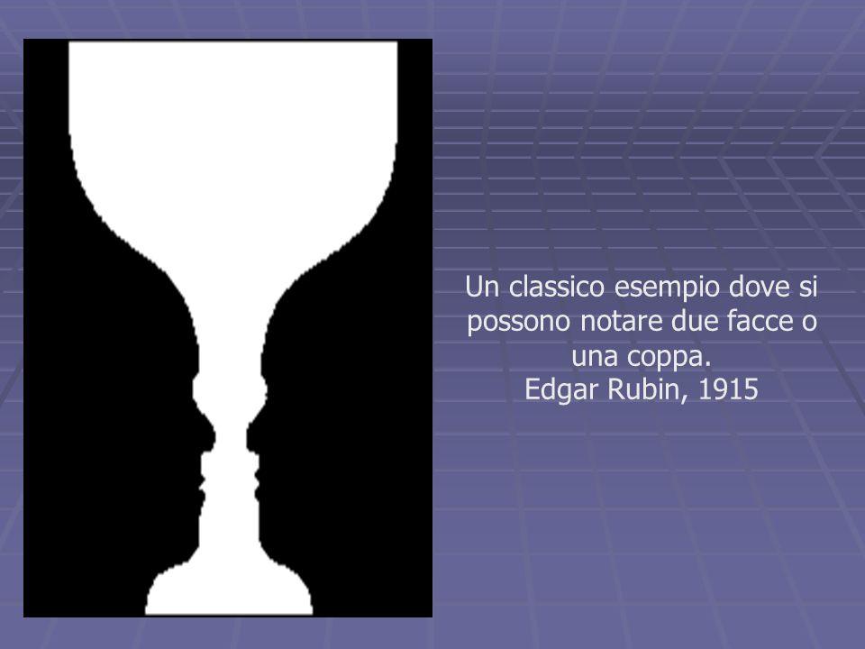 Un classico esempio dove si possono notare due facce o una coppa. Edgar Rubin, 1915