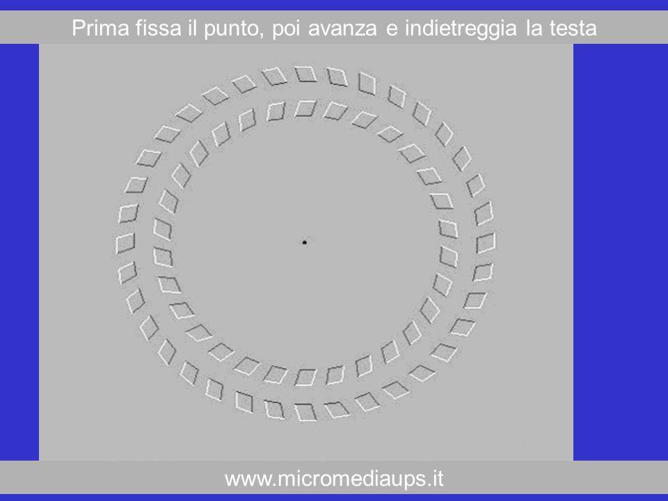 www.micromediaups.it Prima fissa il punto, poi avanza e indietreggia la testa
