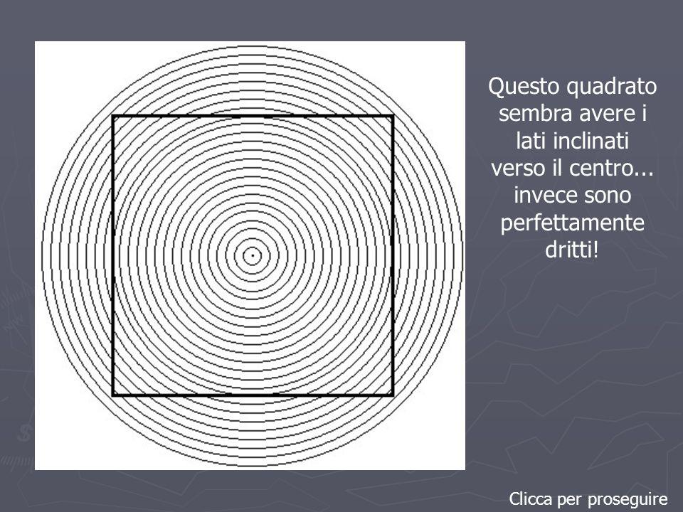 Clicca per proseguire Questo quadrato sembra avere i lati inclinati verso il centro...