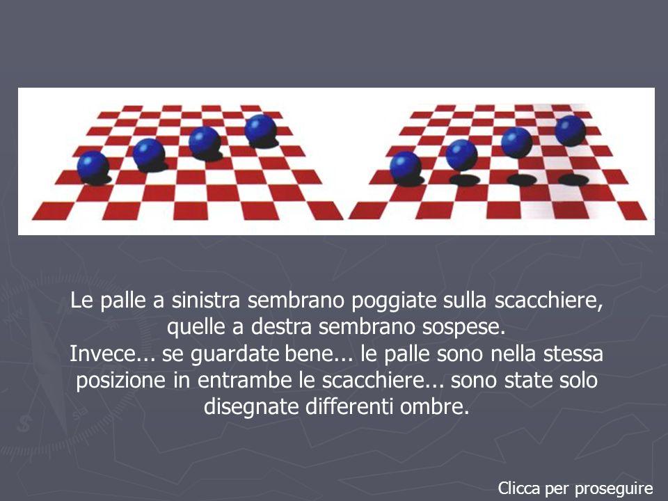 Clicca per proseguire Le palle a sinistra sembrano poggiate sulla scacchiere, quelle a destra sembrano sospese.