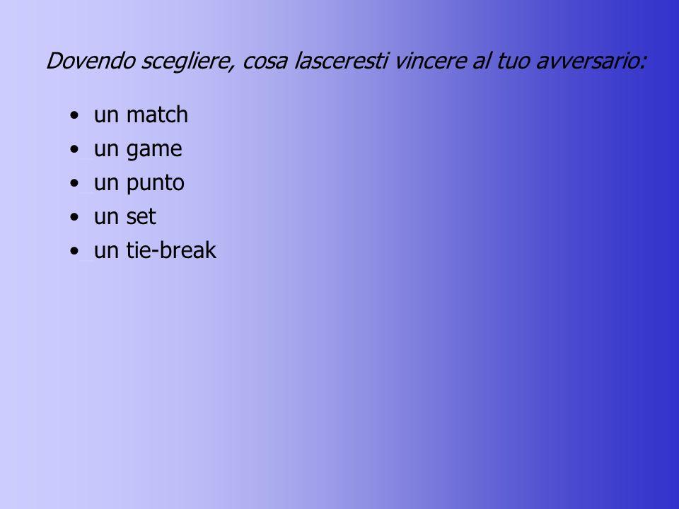 Dovendo scegliere, cosa lasceresti vincere al tuo avversario: un match un game un game un punto un punto un set un tie-break un tie-break