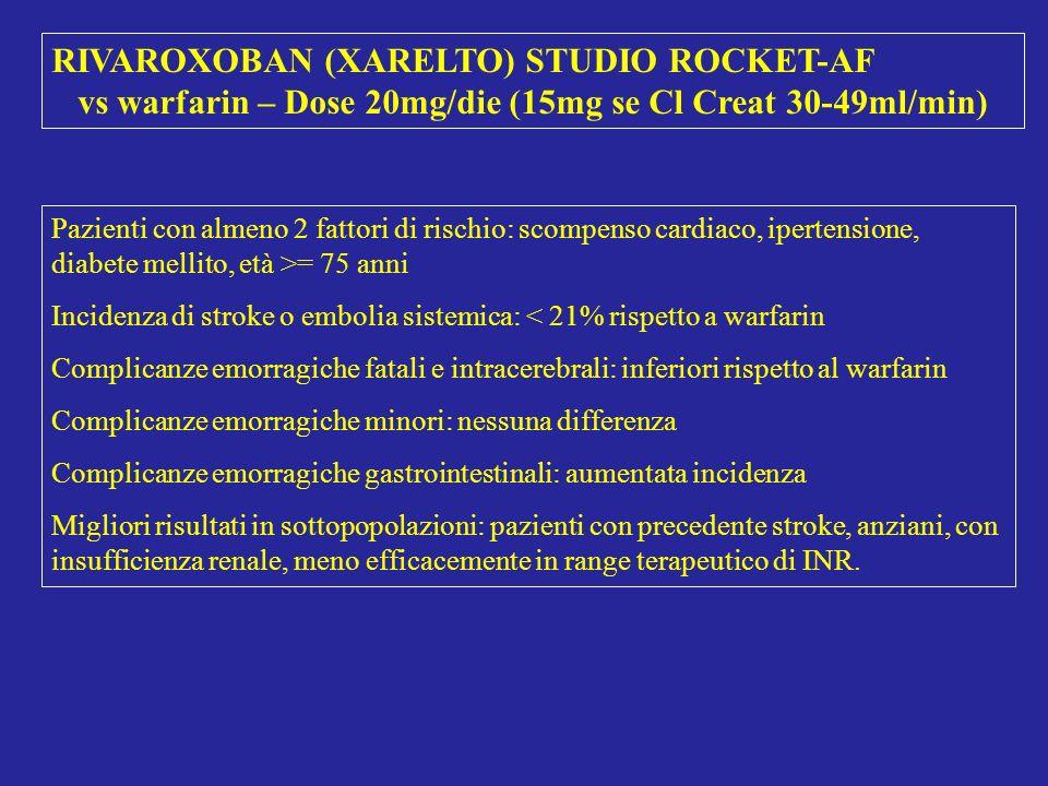 RIVAROXOBAN (XARELTO) STUDIO ROCKET-AF vs warfarin – Dose 20mg/die (15mg se Cl Creat 30-49ml/min) Pazienti con almeno 2 fattori di rischio: scompenso