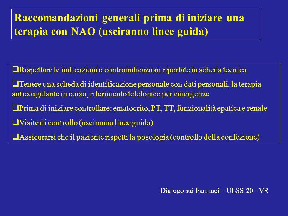 Raccomandazioni generali prima di iniziare una terapia con NAO (usciranno linee guida) Rispettare le indicazioni e controindicazioni riportate in sche