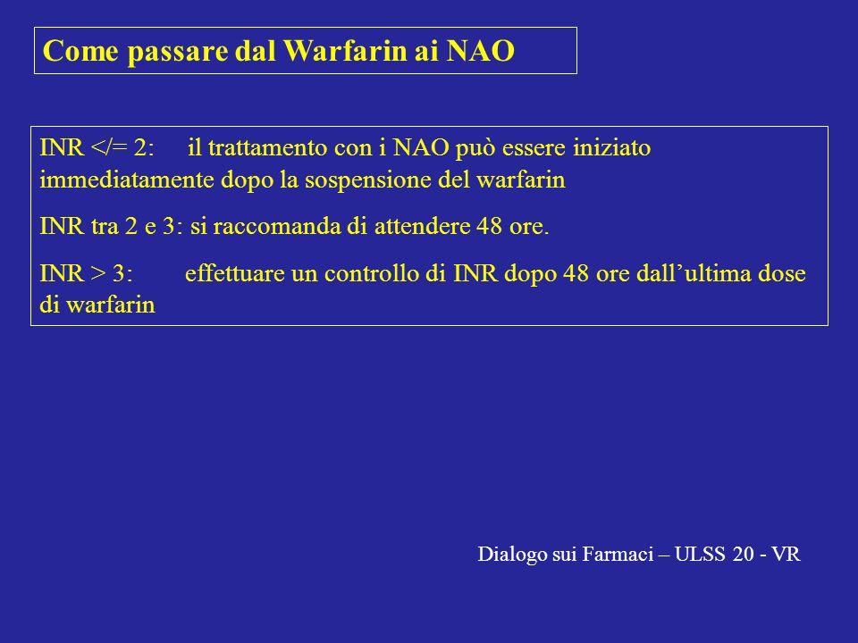 Come passare dal Warfarin ai NAO INR </= 2: il trattamento con i NAO può essere iniziato immediatamente dopo la sospensione del warfarin INR tra 2 e 3