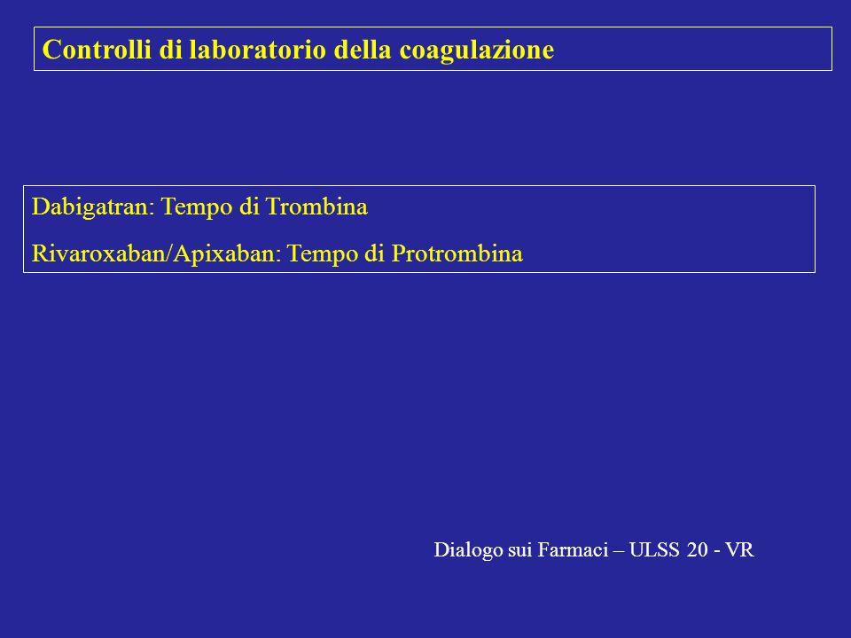 Controlli di laboratorio della coagulazione Dabigatran: Tempo di Trombina Rivaroxaban/Apixaban: Tempo di Protrombina Dialogo sui Farmaci – ULSS 20 - V