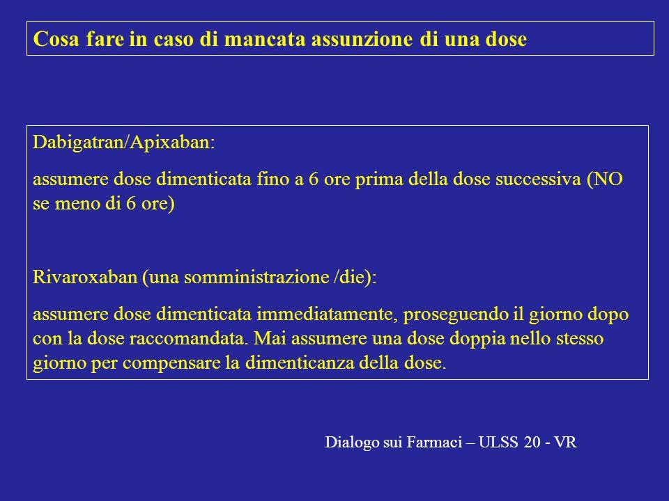 Cosa fare in caso di mancata assunzione di una dose Dabigatran/Apixaban: assumere dose dimenticata fino a 6 ore prima della dose successiva (NO se men
