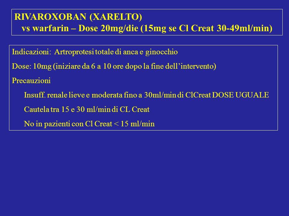 RIVAROXOBAN (XARELTO) vs warfarin – Dose 20mg/die (15mg se Cl Creat 30-49ml/min) Indicazioni: Artroprotesi totale di anca e ginocchio Dose: 10mg (iniz
