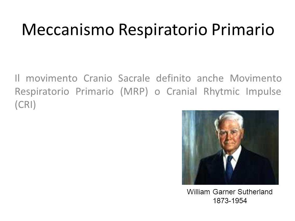 Meccanismo Respiratorio Primario Il movimento Cranio Sacrale definito anche Movimento Respiratorio Primario (MRP) o Cranial Rhytmic Impulse (CRI) William Garner Sutherland 1873-1954