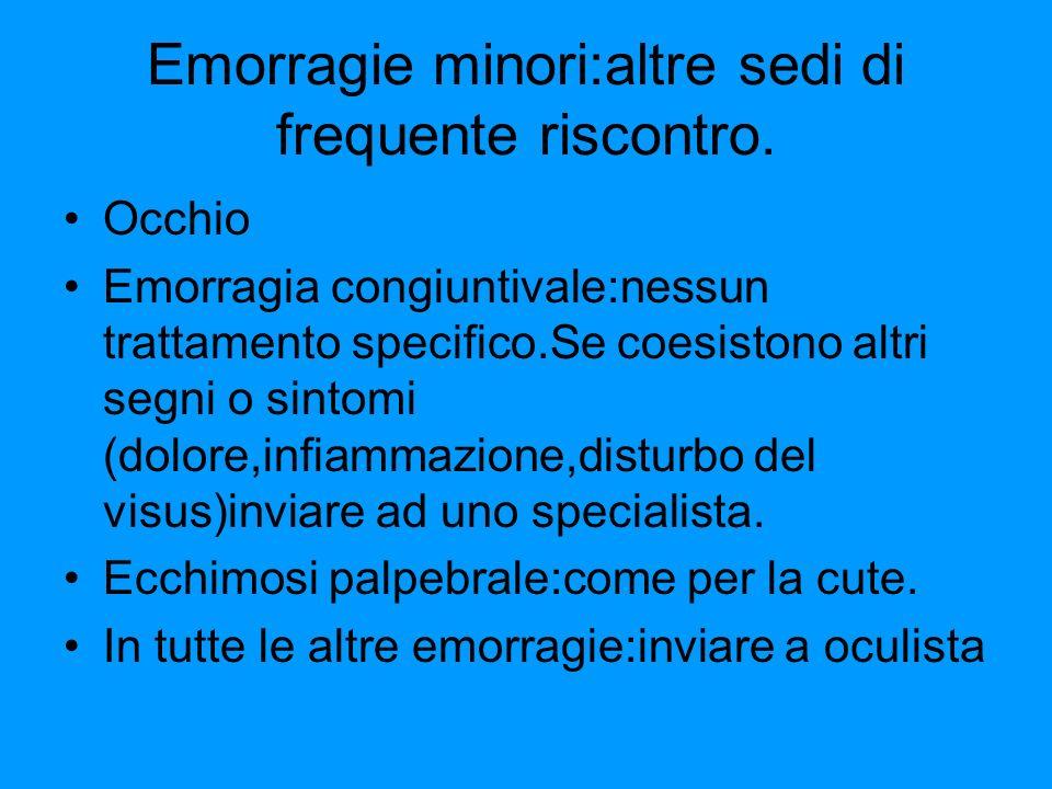 Emorragie minori:altre sedi di frequente riscontro. Occhio Emorragia congiuntivale:nessun trattamento specifico.Se coesistono altri segni o sintomi (d