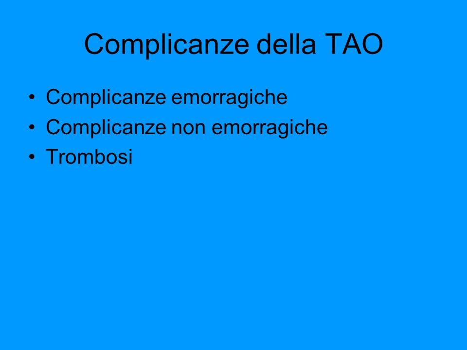 Complicanze della TAO Complicanze emorragiche Complicanze non emorragiche Trombosi