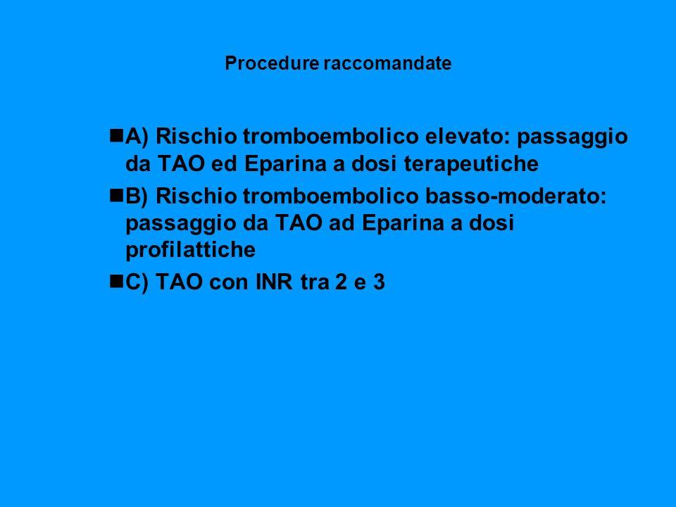 Procedure raccomandate A) Rischio tromboembolico elevato: passaggio da TAO ed Eparina a dosi terapeutiche B) Rischio tromboembolico basso-moderato: pa