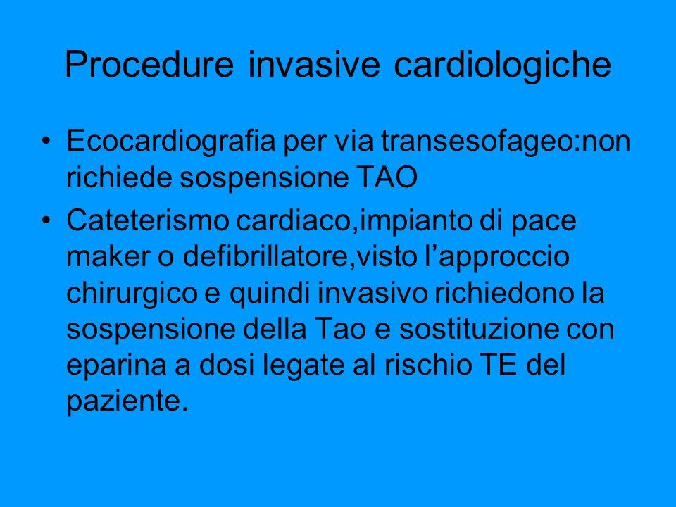 Procedure invasive cardiologiche Ecocardiografia per via transesofageo:non richiede sospensione TAO Cateterismo cardiaco,impianto di pace maker o defi
