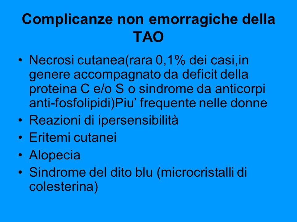 Complicanze non emorragiche della TAO Necrosi cutanea(rara 0,1% dei casi,in genere accompagnato da deficit della proteina C e/o S o sindrome da antico