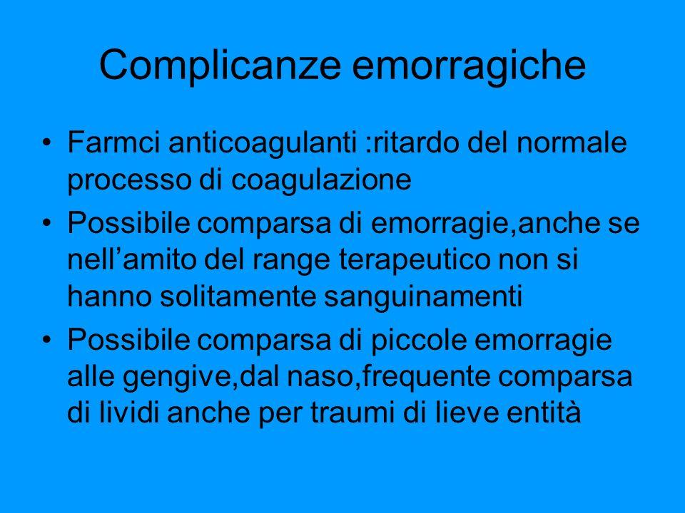 Complicanze emorragiche Farmci anticoagulanti :ritardo del normale processo di coagulazione Possibile comparsa di emorragie,anche se nellamito del ran