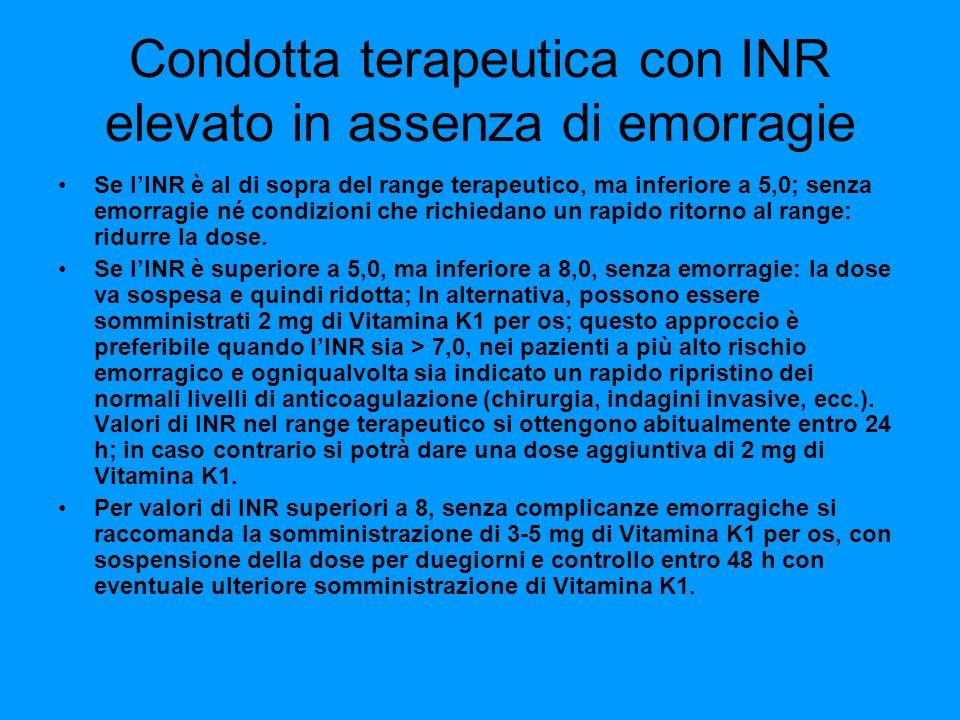 Condotta terapeutica con INR elevato in assenza di emorragie Se lINR è al di sopra del range terapeutico, ma inferiore a 5,0; senza emorragie né condi