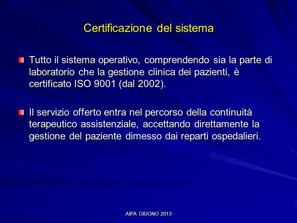 AIPA GIUGNO 2013 Certificazione del sistema Tutto il sistema operativo, comprendendo sia la parte di laboratorio che la gestione clinica dei pazienti,