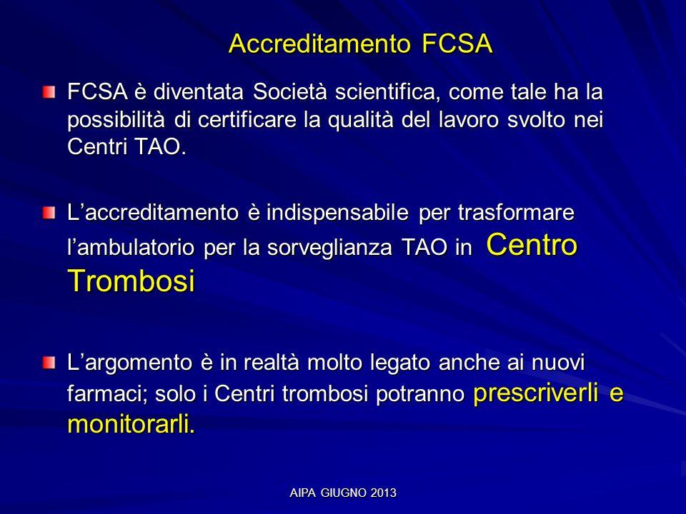 AIPA GIUGNO 2013 Accreditamento FCSA Accreditamento FCSA FCSA è diventata Società scientifica, come tale ha la possibilità di certificare la qualità d