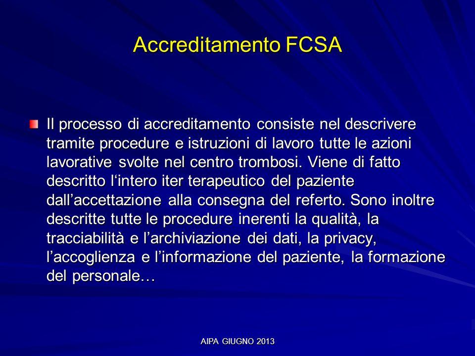 AIPA GIUGNO 2013 Accreditamento FCSA Il processo di accreditamento consiste nel descrivere tramite procedure e istruzioni di lavoro tutte le azioni la