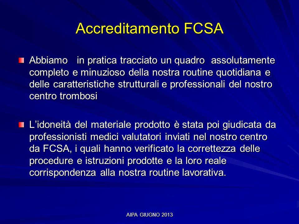 AIPA GIUGNO 2013 Accreditamento FCSA Abbiamo in pratica tracciato un quadro assolutamente completo e minuzioso della nostra routine quotidiana e delle