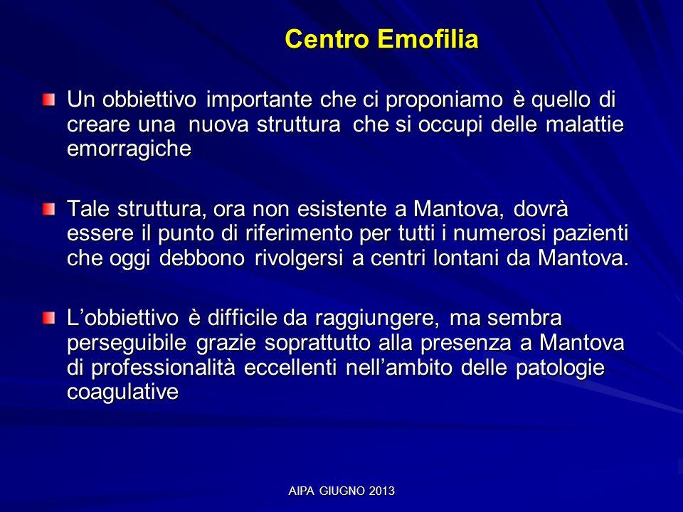 AIPA GIUGNO 2013 Centro Emofilia Centro Emofilia Un obbiettivo importante che ci proponiamo è quello di creare una nuova struttura che si occupi delle