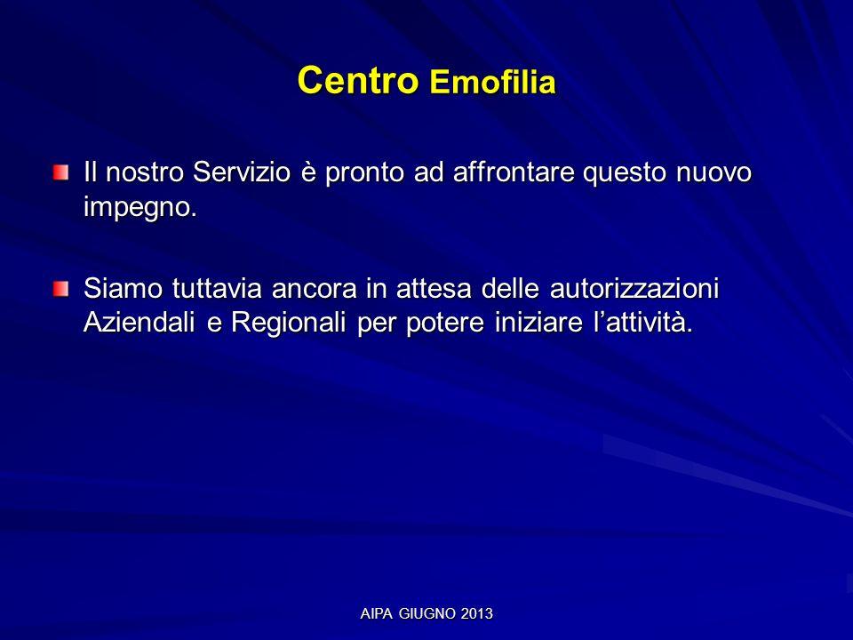 AIPA GIUGNO 2013 Centro Emofilia Il nostro Servizio è pronto ad affrontare questo nuovo impegno. Siamo tuttavia ancora in attesa delle autorizzazioni