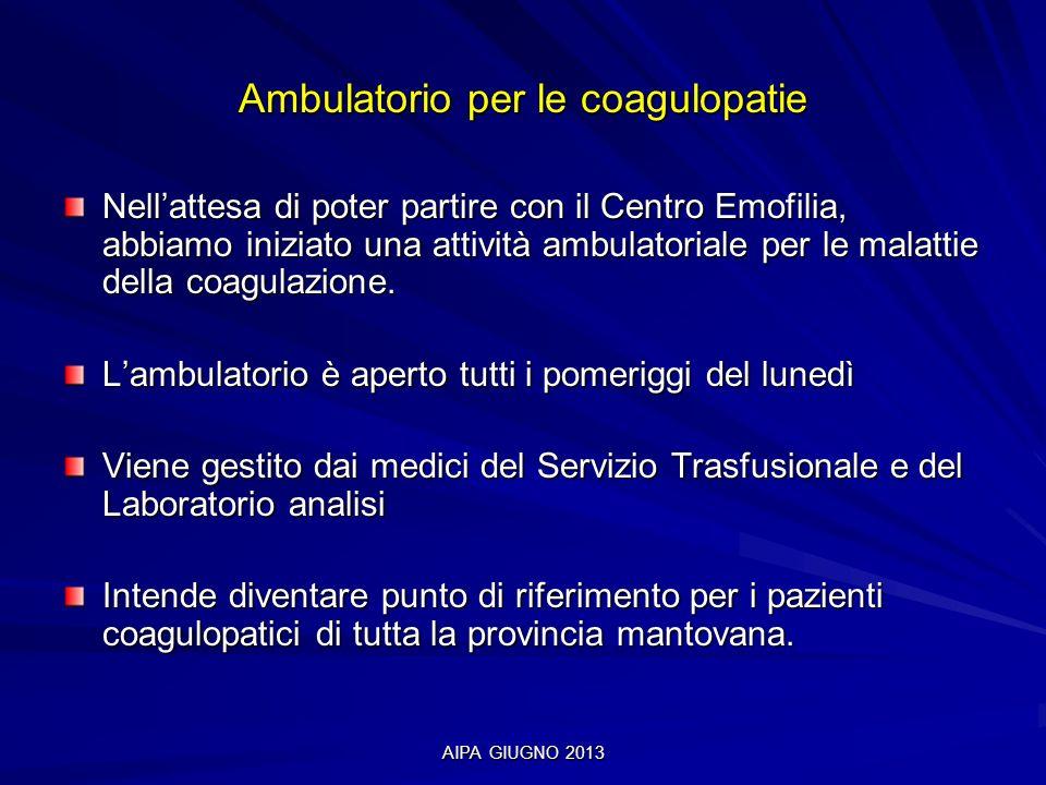 AIPA GIUGNO 2013 Ambulatorio per le coagulopatie Nellattesa di poter partire con il Centro Emofilia, abbiamo iniziato una attività ambulatoriale per l