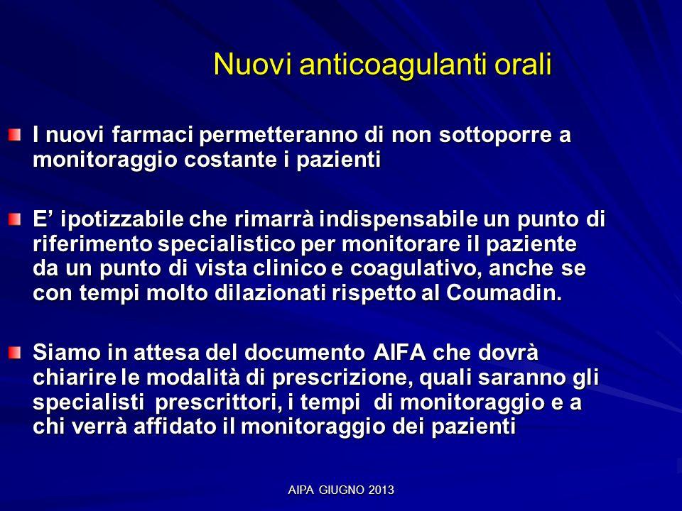 AIPA GIUGNO 2013 Nuovi anticoagulanti orali Nuovi anticoagulanti orali I nuovi farmaci permetteranno di non sottoporre a monitoraggio costante i pazie