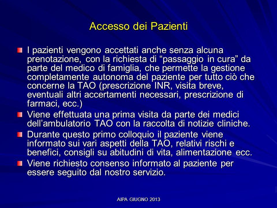 AIPA GIUGNO 2013 Accesso dei Pazienti I pazienti vengono accettati anche senza alcuna prenotazione, con la richiesta di passaggio in cura da parte del