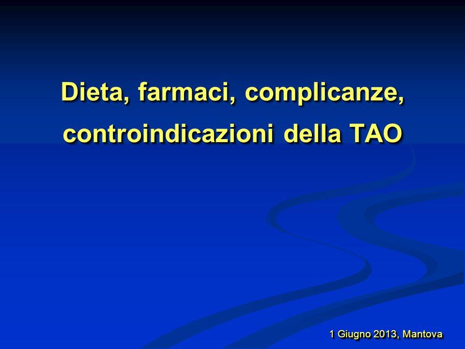 Dieta, farmaci, complicanze, controindicazioni della TAO 20 – 25 % di pazienti sono mal controllati Scarsa compliance Scarsa compliance Farmaci Farmaci Stato di salute Stato di salute Dieta… Dieta… 1 Giugno 2013, Mantova