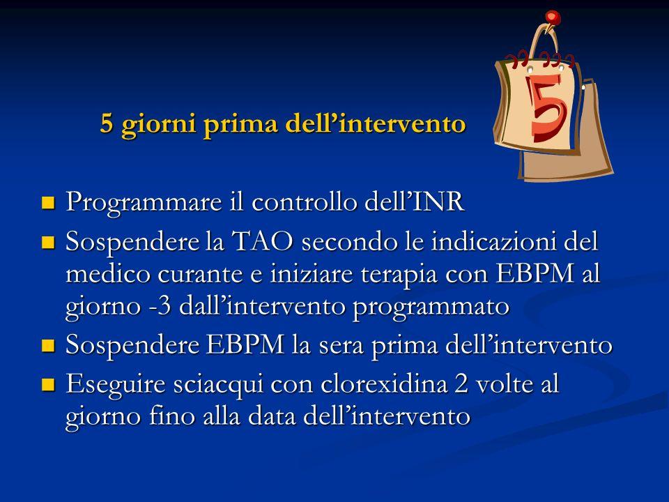 5 giorni prima dellintervento 5 giorni prima dellintervento Programmare il controllo dellINR Programmare il controllo dellINR Sospendere la TAO second