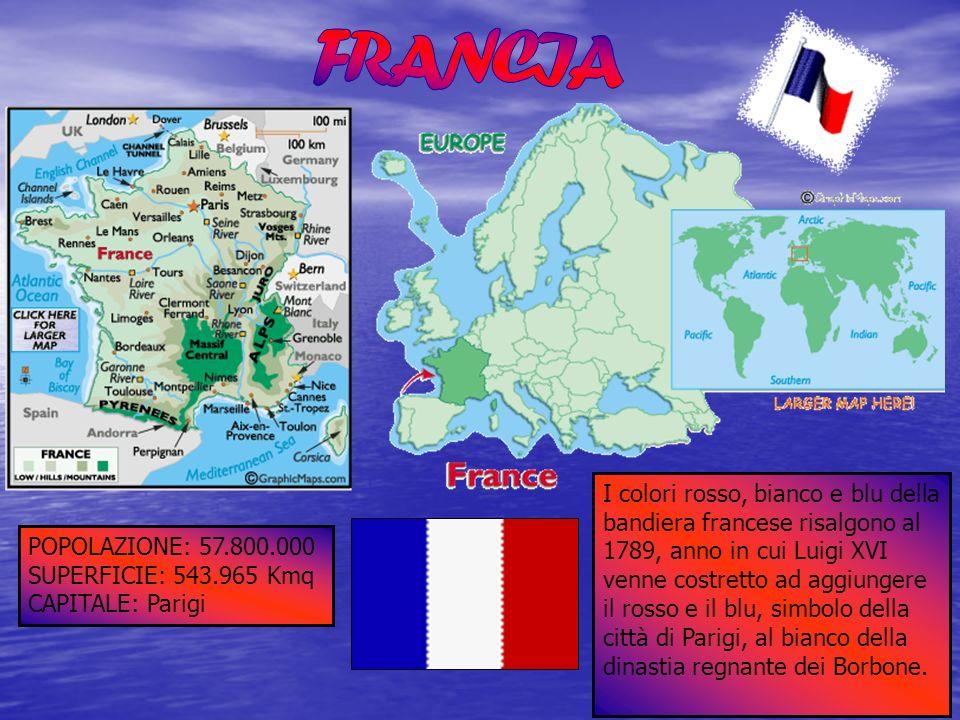 POPOLAZIONE: 57.800.000 SUPERFICIE: 543.965 Kmq CAPITALE: Parigi I colori rosso, bianco e blu della bandiera francese risalgono al 1789, anno in cui L