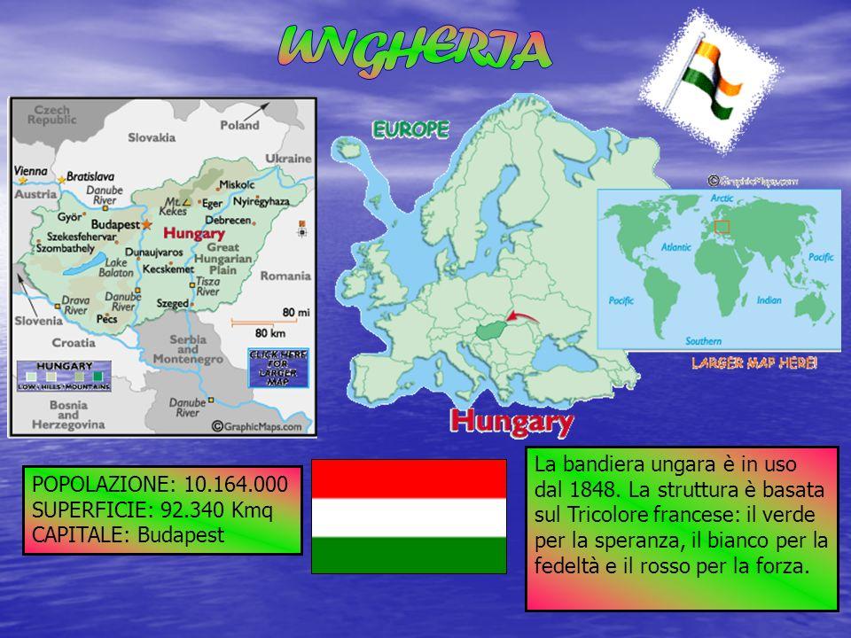 POPOLAZIONE: 10.164.000 SUPERFICIE: 92.340 Kmq CAPITALE: Budapest La bandiera ungara è in uso dal 1848. La struttura è basata sul Tricolore francese: