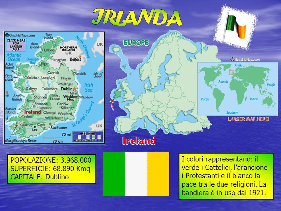 POPOLAZIONE: 3.968.000 SUPERFICIE: 68.890 Kmq CAPITALE: Dublino I colori rappresentano: il verde i Cattolici, larancione i Protestanti e il bianco la
