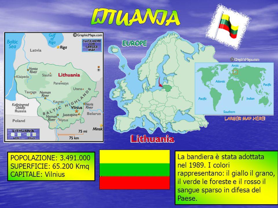 POPOLAZIONE: 3.491.000 SUPERFICIE: 65.200 Kmq CAPITALE: Vilnius La bandiera è stata adottata nel 1989. I colori rappresentano: il giallo il grano, il