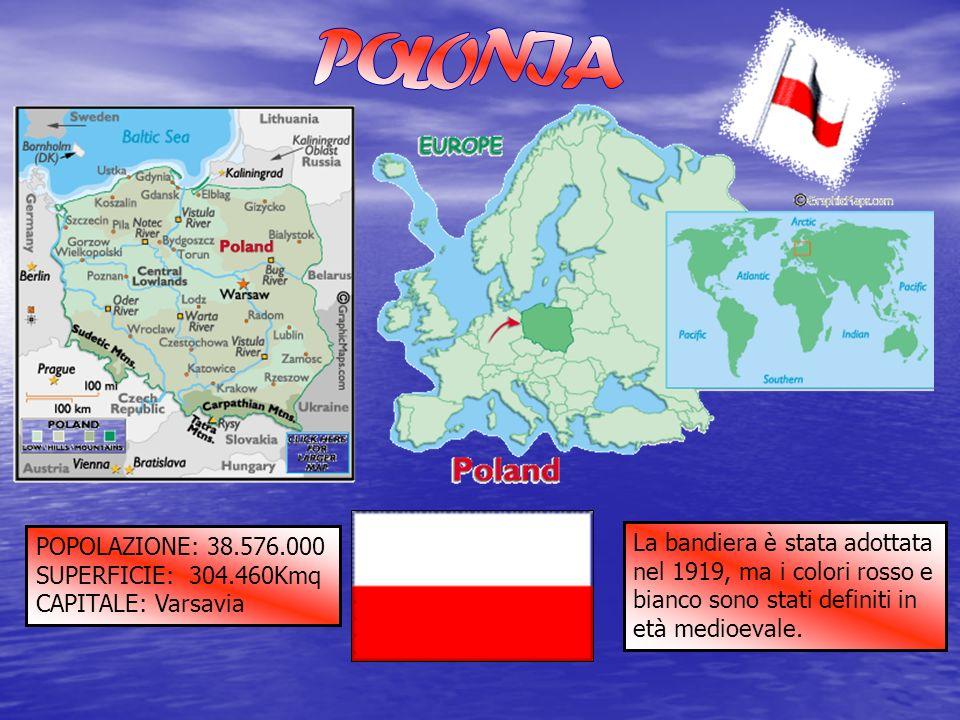 POPOLAZIONE: 38.576.000 SUPERFICIE: 304.460Kmq CAPITALE: Varsavia La bandiera è stata adottata nel 1919, ma i colori rosso e bianco sono stati definit