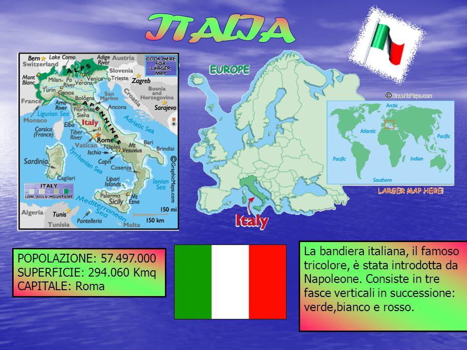 POPOLAZIONE: 57.497.000 SUPERFICIE: 294.060 Kmq CAPITALE: Roma La La La bandiera italiana, il famoso tricolore, è stata introdotta da Napoleone. Consi