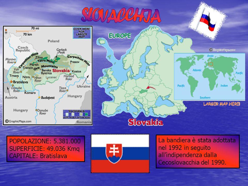 POPOLAZIONE: 5.381.000 SUPERFICIE: 49.036 Kmq CAPITALE: Bratislava La bandiera è stata adottata nel 1992 in seguito allindipendenza dalla Cecoslovacch