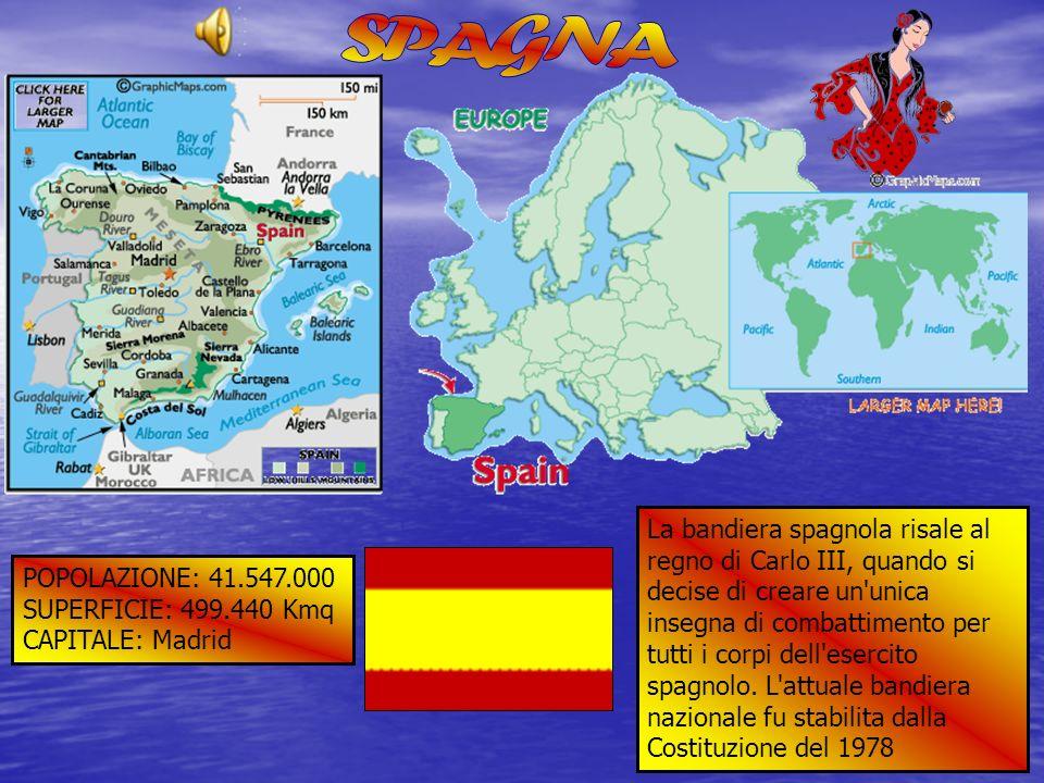 POPOLAZIONE: 41.547.000 SUPERFICIE: 499.440 Kmq CAPITALE: Madrid La bandiera spagnola risale al regno di Carlo III, quando si decise di creare un'unic