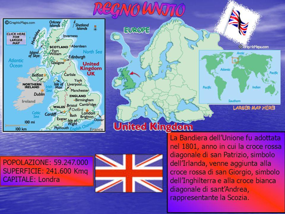 POPOLAZIONE: 59.247.000 SUPERFICIE: 241.600 Kmq CAPITALE: Londra La Bandiera dellUnione fu adottata nel 1801, anno in cui la croce rossa diagonale di