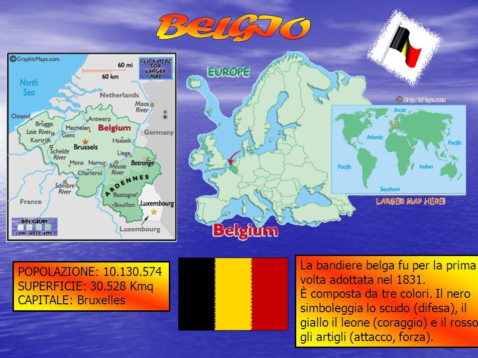 POPOLAZIONE: 10.130.574 SUPERFICIE: 30.528 Kmq CAPITALE: Bruxelles La bandiere belga fu per la prima volta adottata nel 1831. È composta da tre colori