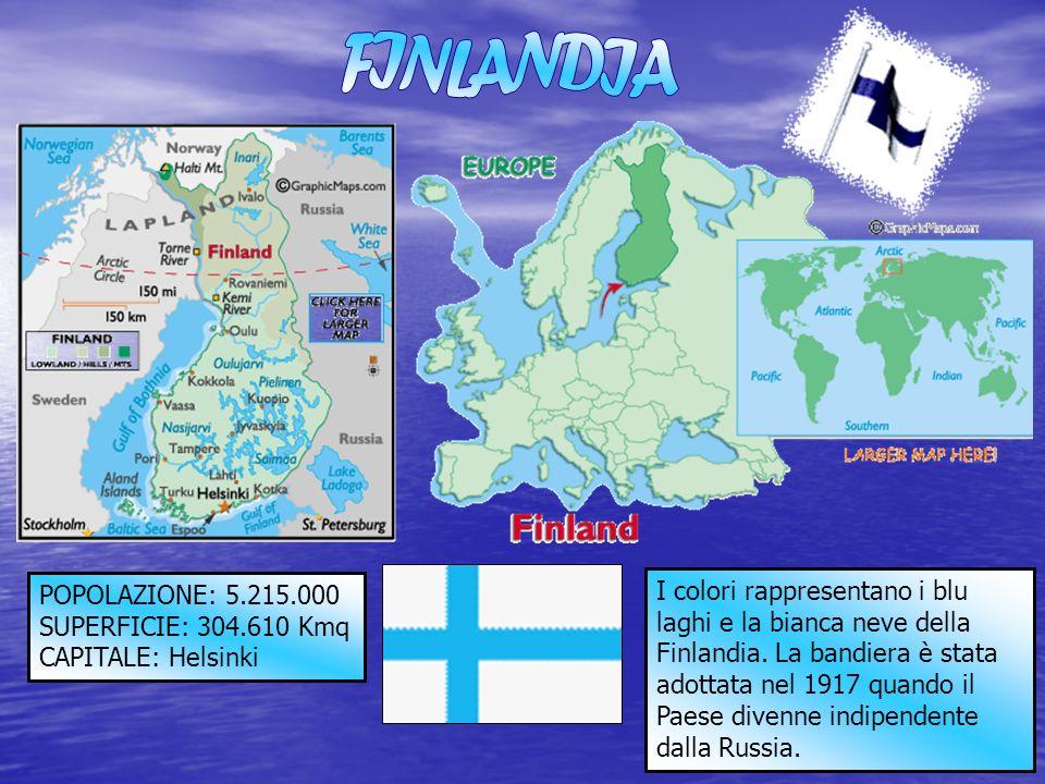 POPOLAZIONE: 5.215.000 SUPERFICIE: 304.610 Kmq CAPITALE: Helsinki I colori rappresentano i blu laghi e la bianca neve della Finlandia. La bandiera è s