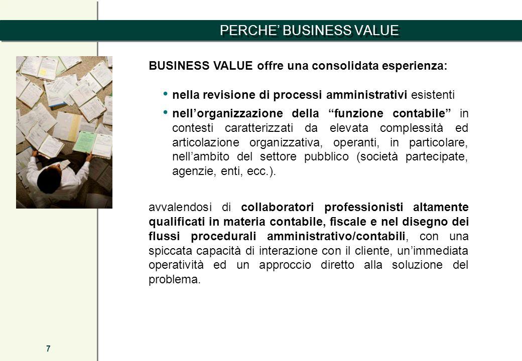 PERCHE BUSINESS VALUE 7 BUSINESS VALUE offre una consolidata esperienza: nella revisione di processi amministrativi esistenti nellorganizzazione della