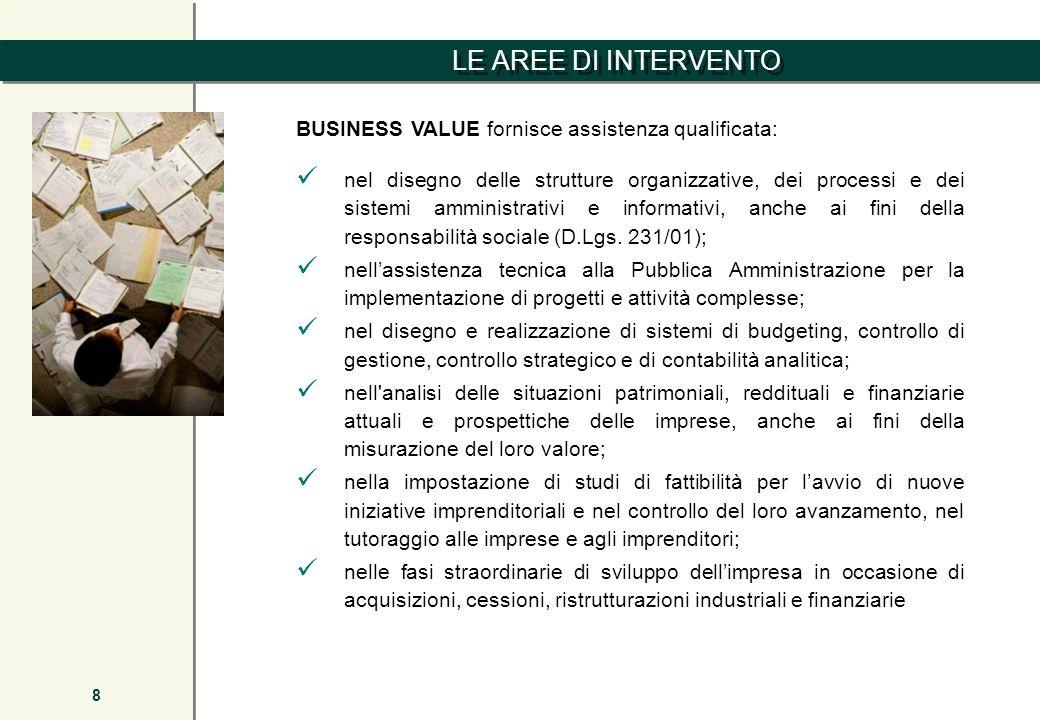 LE AREE DI INTERVENTO 8 BUSINESS VALUE fornisce assistenza qualificata: nel disegno delle strutture organizzative, dei processi e dei sistemi amminist
