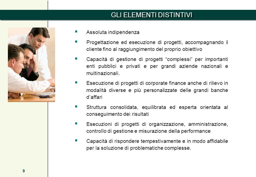 GLI ELEMENTI DISTINTIVI 9 Assoluta indipendenza Progettazione ed esecuzione di progetti, accompagnando il cliente fino al raggiungimento del proprio o
