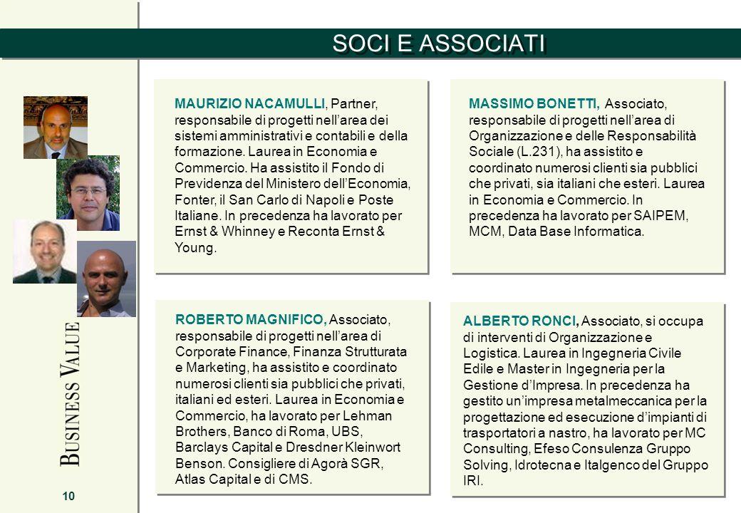 SOCI E ASSOCIATI 10 MAURIZIO NACAMULLI, Partner, responsabile di progetti nellarea dei sistemi amministrativi e contabili e della formazione. Laurea i