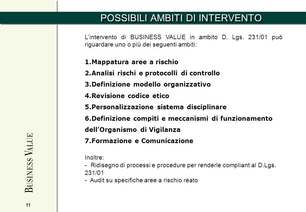 POSSIBILI AMBITI DI INTERVENTO 11 Lintervento di BUSINESS VALUE in ambito D. Lgs. 231/01 può riguardare uno o più dei seguenti ambiti: 1.Mappatura are